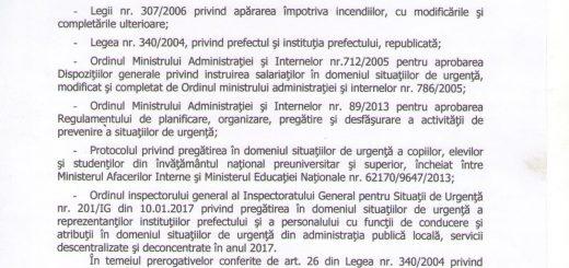 Ordin nr.31 privind Planul de Pregătire în domeniul situațiilor de urgență pentru anul 2017