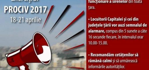 Exercițiul de înștiințare, avertizare și alarmare în situații de protecție civilă - PROCIV 2017